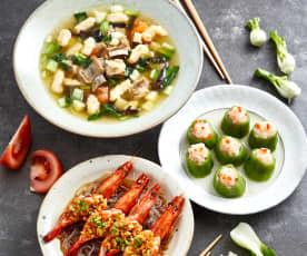 羊肉麻食汤面配蒜蓉开背虾、丝瓜酿