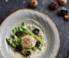 芦笋配帕玛森奶酪酱及黑蒜、苋菜籽