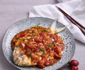 洋葱番茄蒸鲳鱼