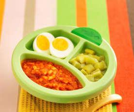 牛肉番茄乌冬面配白煮蛋及丝瓜(13~18个月辅食)