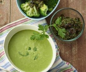 野苣奶油浓汤、蒸西兰花配橄榄酱