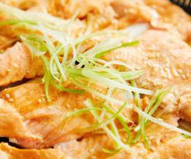 味増酱蒸京葱三文鱼