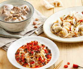 花生莲藕排骨汤配粉丝蒸花蛤、剁椒什锦菌菇