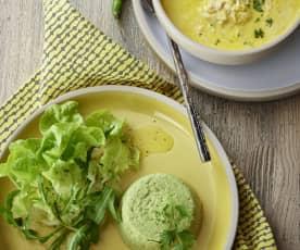 鸡茸玉米巧达汤、西兰花陶罐派