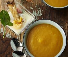 蔬菜浓汤、法式菠菜焗蛋盅