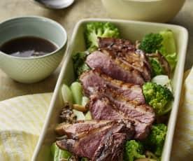 五香蘑菇鸭胸、亚洲风味时蔬及米饭