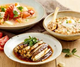 青蟹番茄土豆羹配肉末虾泥蒸蛋、蒸茄子