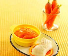 香橙胡萝卜土豆泥配清蒸鳕鱼(13~18个月辅食)