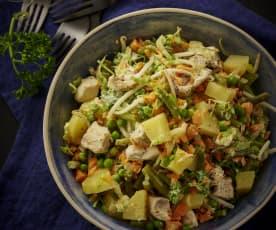 鸡肉土豆蔬菜色拉