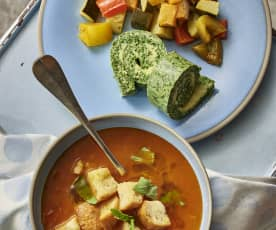 面包番茄汤、菠菜欧姆蛋和蒸普罗旺斯炖菜