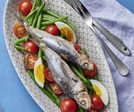 纸包沙丁鱼配四季豆色拉