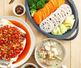 老妈蹄花汤配剁椒鱼头、川式蒸菜
