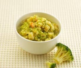 西兰花虾仁疙瘩汤(13~18个月辅食)
