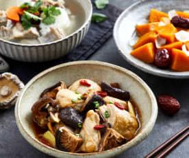 山药胡萝卜羊排汤配花菇蒸鸡、红枣百合蒸南瓜