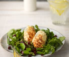 Goat's Cheese Eggs with Watercress and Beetroot
