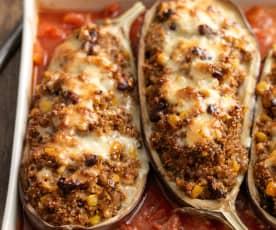 Mexican Quinoa Stuffed Aubergine