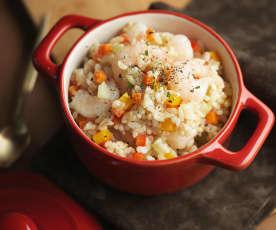 虾仁时蔬糙米饭