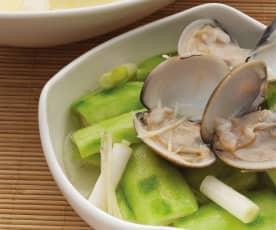 米酒蛤蜊蒸丝瓜