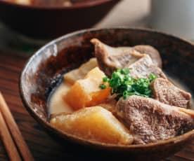 味增牛舌煮萝卜