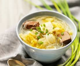 酸菜鸭血炖豆腐