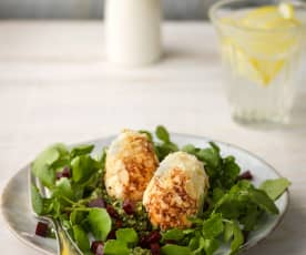 Goats Cheese Eggs with Watercress and Beetroot