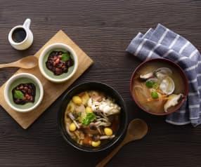 蛤蜊味噌汤、清酒蒸鸡腿和抹茶豆浆布丁