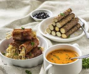 番茄浓汤、培根金针菇卷和蒸山药