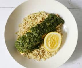 香草蒸三文鱼配米饭